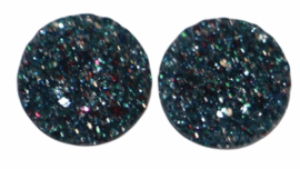 Rondje shiny petrol met glitters zilver-roze  flatback 12mm, per 2 stuks