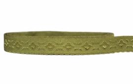 Elastische biaisband jacquard met schulprandje (vouwkant) mosgroen 10mm per 0,5 meter