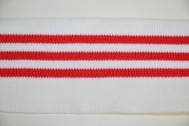 Boord rood wit gestreept dubbelgevouwen 5cm breed, 58 cm lang