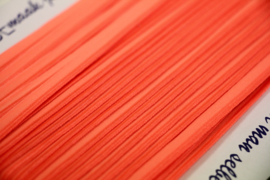 Elastisch paspelband glans/mat neonoranje per 0,5 meter