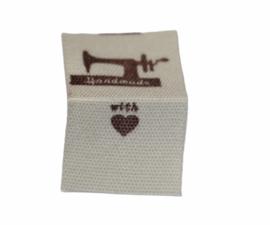 Kledinglabel handmade with love/naaimachine, per stuk