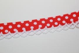 Biaisband met kant stip kleur rood per meter