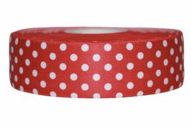 Rood met witte stip elastiek 40 mm per 0,5 meter