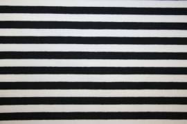 Jersey streep zwart wit 1 cm per 25cm