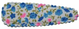 kniphoesje katoen met bloemen blauw roze 5 cm