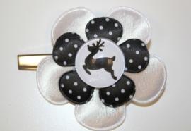 Kerst haarclip 5,7 cm zwart-wit
