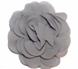 Stoffen bloem 8 cm grijs