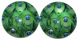 Glas flatback cabochon 12mm pauwenveer  per 2 stuks