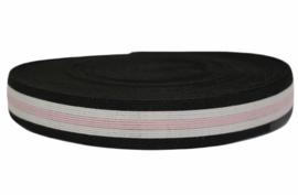 25 mm elastiek/ elastisch band zwart/gebroken wit/lichtroze per 0,5 meter