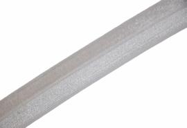 Elastisch biaisband/vouwtres wit shiny/mat 20 mm per 0,5 meter