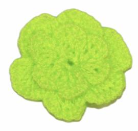 Gehaakt roosje neon groen +/- 25mm, per stuk
