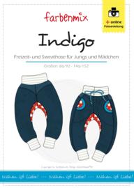 Farbenmix papier patroon sweatbroek INDIGO 86/92 - 146/152