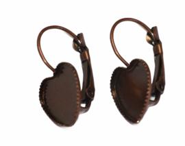 Oorbellen french lever back hart-vorm red copper setting 12 mm