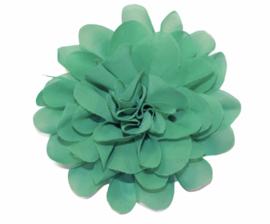 Stoffen bloem 10 cm turkoois