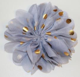 Stoffen bloem 8 cm  grijs met gouden stip