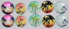 Glas cabochons 12 mm Hawaii (2): 10 stuks