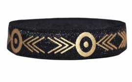 Elastisch band zwart met goud tribal 16 mm per 0,5 meter