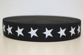 Zwart-wit ster elastiek 40 mm per 0,5 meter