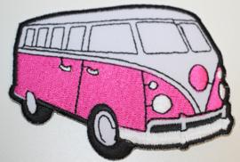 Applicatie VW busje roze 9 x  6,5 cm
