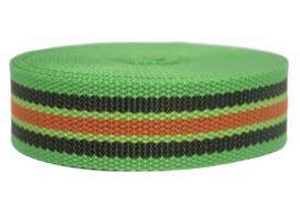 Tassenband felgroen/legergroen/oranje STEVIG 30mm, per 0,5 meter