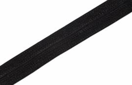 Elastisch biaisband/vouwtres JAQUARD kleur black 20 mm per 0,5 meter