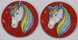 12 mm glascabochon unicorn  per 2 stuks