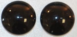 Glas flatback cabochon 12mm zwart per 2 stuks