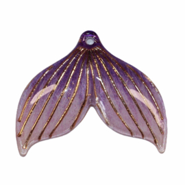 Zeemeerminstaart lila met gaatje  25x30 mm, per stuk