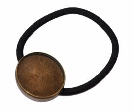 Haarelastiek zwart met setting 25 mm bronskleur