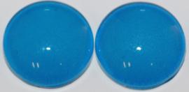 Glas flatback cabochon 12mm middenblauw per 2 stuks