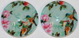 Glas flatback cabochon 12 mm vogel op tak mint , 2 stuks