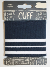 Cuff two stripes marineblauw-wit 7x110 cm