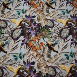 Digitale print tricot: JUNGLE DUSTY GREEN, per 25 cm
