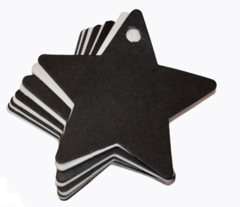 Label ster zwart/wit 60x 60 mm: per 10 stuks