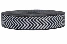 Sierband: Zig-zag zwart wit 25 mm, per 0,5 meter