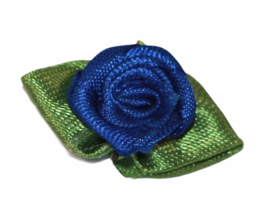 Roosje met blad 30x18mm kobaltblauw