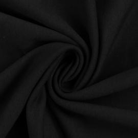 Brushed joggingstof: effen zwart (Swafing kleur 299), per 25 cm
