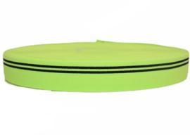Neongroen met zwarte streep elastiek 30 mm per 0,5 meter