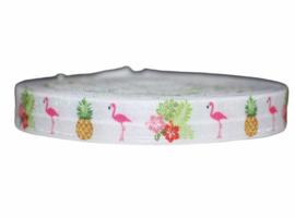 Elastisch band wit flamingo ananas en bloemen 16 mm per 0,5 meter