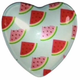 Hart glascabochon meloen 25 mm