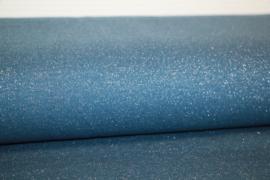 Jeansblauw met jeansblauwe glitter boordstof. Rondgebreid 45 cm. Per 25 cm