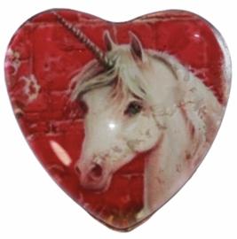 Hart glascabochon unicorn roze 25 mm per stuk