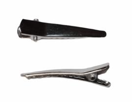 Alligator haarspeldje rond puntje 35 mm zilverkleur, per stuk
