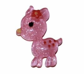 Flatback hertje roze, 20x28mm