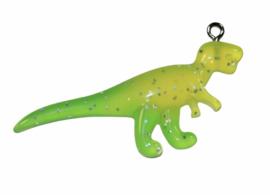 Dino glinster geel/groen met haakje 49x 16 mm
