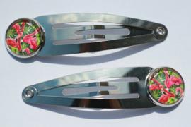 Klik-klak haarspeldjes rvs-kleur 5,5 cm met 12 mm cabochon setting