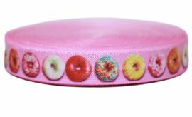 Elastisch band roze met donuts 16 mm per 0,5 meter