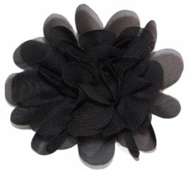 Stoffen bloem 7 cm zwart
