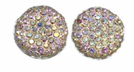 Flatback rondje 12mm shiny zilver, per 2 stuks