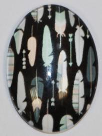 Glas flatback cabochon zwart met veertjes 18 x 25 mm